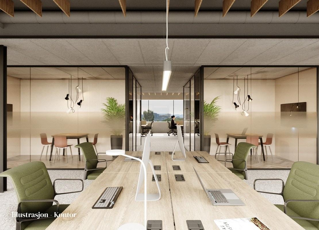 Illustrasjon av kontorlandskap med utsikt i bakgrunnen